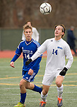 NEW BRITAIN, CT-111817JS16- Lewis Mills' John Mudgett (14) gets control of the ball in front of Suffield's Dylan Carzello (14) during their Class M state final game Saturday at Willow Brook Park in New Britain.<br /> Jim Shannon Republican-American