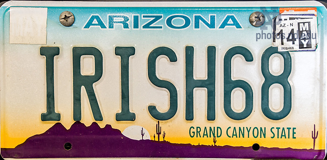Apr. 13, 2014; License plate Arizona &quot;Irish68&quot;<br /> <br /> Photo by Matt Cashore/University of Notre Dame