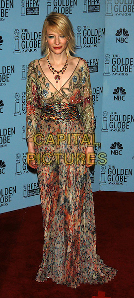 CATE BLANCHETT.60th Golden Globe Awards, Los Angeles, USA..January 1st, 2003.floaty dress full length sheer colourful colorful .CAP/PL.©Phil Loftus/Capital Pictures
