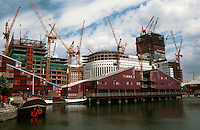 London Docklands:  Looking over Heron Quay to Canary Wharf from Southwest.  Summer 1990.