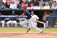 Hagerstown Suns center fielder Blake Perkins (48) swings at a pitch during a game against the  Asheville Tourists at McCormick Field on September 4, 2016 in Asheville, North Carolina. The Suns defeated the Tourists 10-5. (Tony Farlow/Four Seam Images)