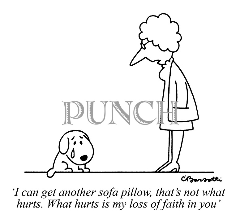 'I can get another sofa pillow, that's not what hurts. What hurts is my loss of faith in you'