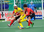 The Hague, Netherlands, June 14: Mandeep Singh #11 of India controls the ball during the field hockey placement match (Men - Place 9th/10th) between India and Korea on June 14, 2014 during the World Cup 2014 at Kyocera Stadium in The Hague, Netherlands. Final score 3-0 (1-0)  (Photo by Dirk Markgraf / www.265-images.com) *** Local caption *** Daekeun Oh #5 of Korea, Mandeep Singh #11 of India, Seunghoon Lee #21 of Korea