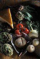 Gastronomie générale / Cuisine générale : Tarte tatin aux fonds d'artichaut et parmesan - ingrédients crus