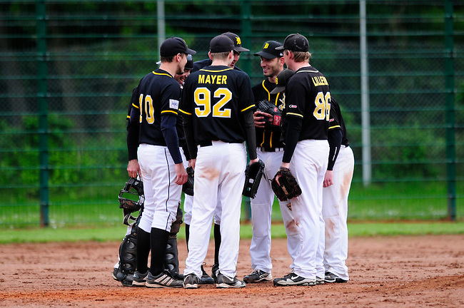 DARMSTADT, GERMANY - May 25: Game 2 between Darmstadt Whippets (black) and Saarlouis Hornets (green) at match day 4 in the Regionalliga Suedwest at Memory Field sports ground on May 25, 2013 in Darmstadt, Germany. Darmstadt won 7-3. (Photo by Dirk Markgraf/www.265-images.com).