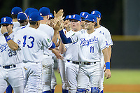 Michael Arroyo (11) of the Burlington Royals high fives his teammates after their win over the Princeton Rays at Burlington Athletic Stadium on August 12, 2016 in Burlington, North Carolina.  The Royals defeated the Rays 9-5.  (Brian Westerholt/Four Seam Images)