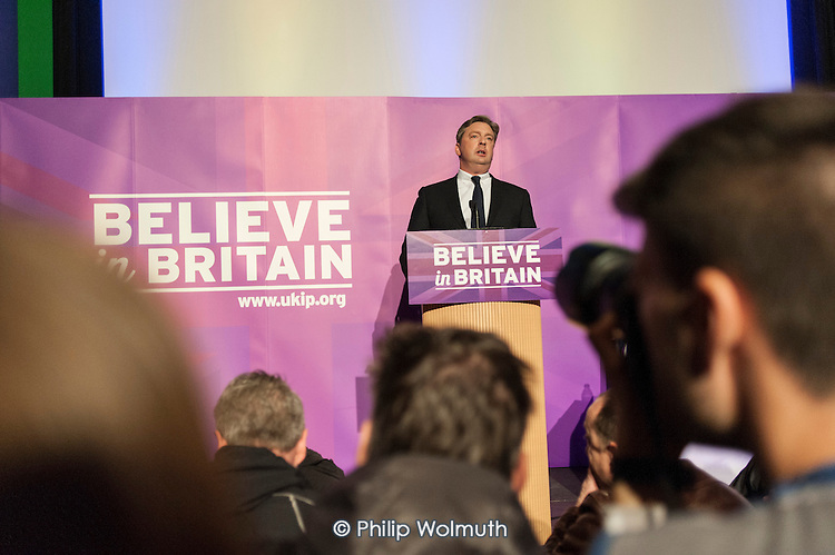 Local UKIP candidate Jamie Huntman addressing press and supporters at the UKIP launch of its General Election campaign in the Movie Starr cinema, Canvey Island, South Essex.