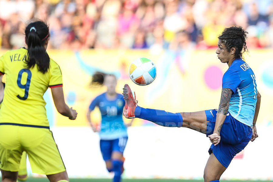 HAMILTON, CANADA, 25.07.2015 - PAN-FUTEBOL - Cristiane do Brasil durante partida contra a Colombia em partida da final do futebol feminino nos jogos Pan-americanos no Estadio Tim Hortons em Hamilton no Canadá neste sábado, 25.   (Foto: William Volcov/Brazil Photo Press)