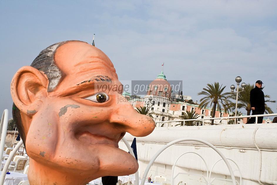 Europe/France/06/Alpes-Maritimes/Nice: Hôtel Le Négresco sur la Promenade des Anglais, Jacques Chirac en vacances