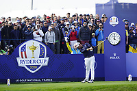 Webb Simpson (Team USA) on the 10th tee during the friday foursomes at the Ryder Cup, Le Golf National, Ile-de-France, France. 28/09/2018.<br /> Picture Fran Caffrey / Golffile.ie<br /> <br /> All photo usage must carry mandatory copyright credit (© Golffile | Fran Caffrey)
