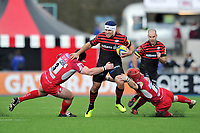 Schalk Brits takes on the London Welsh defence. Aviva Premiership match, between Saracens and London Welsh on March 3, 2013 at Allianz Park in London, England. Photo by: Patrick Khachfe / Onside Images