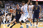 CHAPEL HILL, NC - FEBRUARY 12: Notre Dame's Rex Pflueger (0) drives past North Carolina's Cameron Johnson (13). The University of North Carolina Tar Heels hosted the University of Notre Dame Fighting Irish on February 12, 2018 at Dean E. Smith Center in Chapel Hill, NC in a Division I men's college basketball game. UNC won the game 83-66.