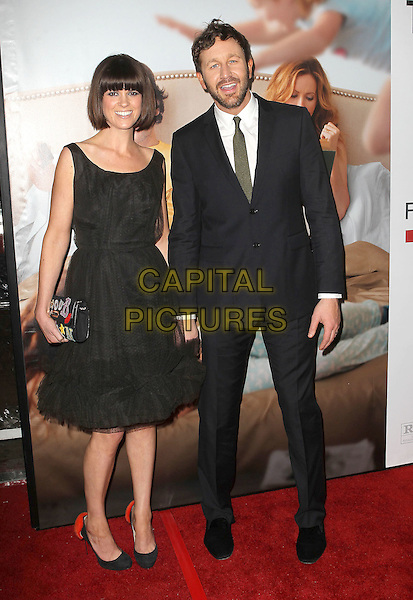 "Dawn Porter & Chris O'Dowd.""This Is 40"" Los Angeles Premiere held at Grauman's Chinese Theatre, Hollywood, California, USA..December 12th, 2012.full length dress black white shirt tie green beard facial hair feathers trim married husband wife .CAP/ADM/KB.©Kevan Brooks/AdMedia/Capital Pictures."