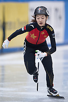 1st February 2019, Dresden, Saxony, Germany; World Short Track Speed Skating; 1000 meters women in the EnergieVerbund Arena. Xiran Wang from China on the track.