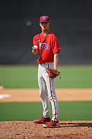 Philadelphia Phillies pitcher Tyler McKay (16) gets ready to deliver a warm up pitch during a Florida Instructional League game against the New York Yankees on October 11, 2018 at Yankee Complex in Tampa, Florida.  (Mike Janes/Four Seam Images)