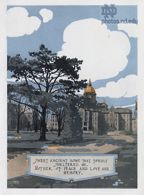 """Dome yearbook 1916, page 10:  Drawing of Main Building exterior..Caption:  """"Sweet ancient home that fondly sheltered me, Mother of Peace and Love and Memory."""".Drawing by Joseph Patrick Flynn.  Poem by Rev. Thomas E. Burke, CSC..Image from the University of Notre Dame Archives."""