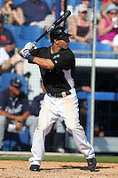 Toronto Blue Jays Darin Mastroianni #1 during a Spring Training game vs the Detroit Tigers at Florida Auto Exchange Stadium in Dunedin, Florida;  February 26, 2011.  Detroit defeated Toronto 4-0.  Photo By Mike Janes/Four Seam Images