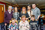 Imelda O'Sullivan, Tralee, sits between her two nephews, Calvin, Lt and Cody while out celebrating her special birthday last Saturday night at Kingdom Greyhound Stadium, Tralee, back L-R Bertie&Evelyn O'Sullivan, Finiola Quirke with Chantelle&Bertie Jnr O'Sullivan.