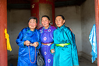 Mongolia, Ovorkhangai Province, Kharakhorum. Women visiting Erdene Zuu, Mongolia's largest monastery. Basan Lama is the Abbot of this Buddhist monastery.
