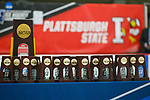 ADRIAN, MI - MARCH 18: The championship trophy is readied to be presented after the Division III Women's Ice Hockey Championship held at Arrington Ice Arena on March 19, 2017 in Adrian, Michigan. Plattsburgh State defeated Adrian 4-3 in overtime to repeat as national champions for the fourth consecutive year. by Tony Ding/NCAA Photos via Getty Images)
