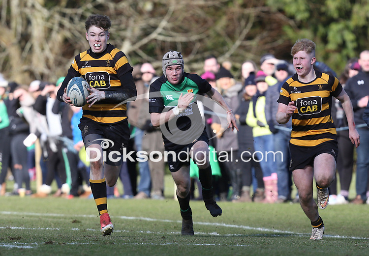 Saturday 17th February 2018 | RBAI vs Sullivan<br /> <br /> Jude Postlethwaite during the Ulster Schools' Cup Quarterfinal between RBAI and Sullivan at Cranmore Park, Belfast, Northern Ireland. Photo by John Dickson / DICKSONDIGITAL