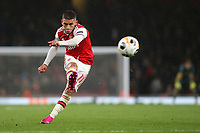 Lucas Torreira hits a shot from a free-kick just over the Standard Liege goal during Arsenal vs Standard Liege, UEFA Europa League Football at the Emirates Stadium on 3rd October 2019
