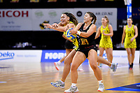 Waikato Bay of Plenty&rsquo;s Ali Wilshier and Central Manawa&rsquo;s Renee Savai&rsquo;inaea in action during the Beko Netball League - Central Manawa v Waikato Bay of Plenty at TSB Bank Arena, Wellington, New Zealand on Sunday 21 April 2019. <br /> Photo by Masanori Udagawa. <br /> www.photowellington.photoshelter.com