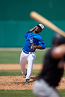 Dunedin Blue Jays relief pitcher Dany Jimenez (43) during a Florida State League game against the Jupiter Hammerheads on May 16, 2019 at Jack Russell Memorial Stadium in Clearwater, Florida.  Dunedin defeated Jupiter 1-0.  (Mike Janes/Four Seam Images)