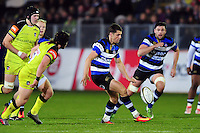 Adam Hastings of Bath Rugby puts boot to ball. Anglo-Welsh Cup match, between Bath Rugby and Leicester Tigers on November 4, 2016 at the Recreation Ground in Bath, England. Photo by: Patrick Khachfe / Onside Images
