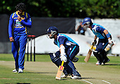 Cricket - ODI Summer Tri-Series - Scotland V Sri Lanka at Grange CC - Edinburgh - rare runs for Scotland off Sri Lanka opening bowler Lasith Malinga (who took 5 for 30 in the game) - Picture by Donald MacLeod - 13.07.11 - 07702 319 738 - www.donald-macleod.com