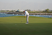 Sami Valimaki (FIN) on the final play-off hole during Round 4 of the Oman Open 2020 at the Al Mouj Golf Club, Muscat, Oman . 01/03/2020<br /> Picture: Golffile | Thos Caffrey<br /> <br /> <br /> All photo usage must carry mandatory copyright credit (© Golffile | Thos Caffrey)