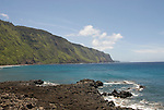 Hawaii: Molokai, scenic view of cliffs and ocean from Kalaupapa..Photo himolo117-71903.Photo copyright Lee Foster, www.fostertravel.com, lee@fostertravel.com, 510-549-2202