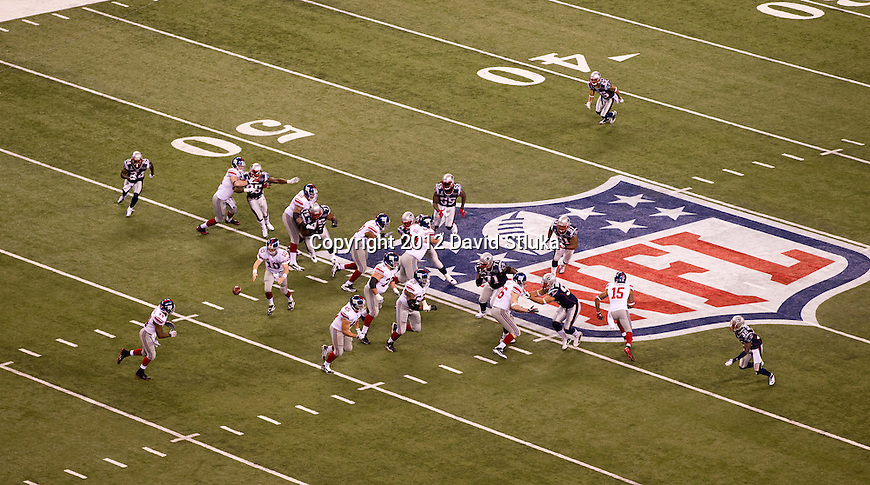 A general view of Lucas Oil Stadium during the NFL Super Bowl XLVI football game between the New York Giants and the New England Patriots on Sunday, Feb. 5, 2012, in Indianapolis. The Giants won 21-17 (AP Photo/David Stluka)...