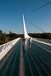 Sundial Bridge across Sacramento River in Redding in Northern California.Photo copyright Lee Foster.  Photo # california-sundial-bridge-cashas104911