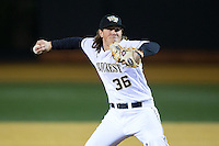 Wake Forest Demon Deacons starting pitcher Parker Dunshee (36) in action against the Georgetown Hoyas at David F. Couch Ballpark on February 19, 2016 in Winston-Salem, North Carolina.  The Demon Deacons defeated the Hoyas 3-1.  (Brian Westerholt/Four Seam Images)