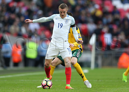 March 26th 2017, Wembley Stadium, London, England; World Cup 2018 Qualification football, England versus Lithuania; Jamie Vardy of England on the ball
