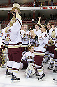 Tracy Johnson (Boston College - 5), Lauren Wiedmeier (Boston College - 27) - The Boston College Eagles defeated the Harvard University Crimson 1-0 to win the Beanpot on Tuesday, February 10, 2009, at Matthews Arena in Boston, Massachusetts.