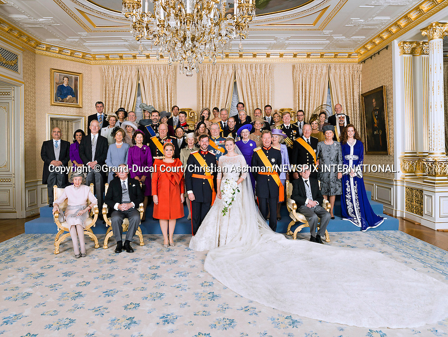 """Wedding of HRH the Hereditary Grand Duke Guillaume and Countess Stéphanie de Lannoy.Official Wedding photograph at the Grand-Ducal Palace, Luxembourg_20-10-2012.(From left front row); H.M. Queen Fabiola /H.R.H.Grand-Duke Jean /Grand-Duchess Maria Teresa / H.R.H. Crown Prince Guillaume / H.R.H. Princess Stéphanie Crown Grand-Duchess of Luxembourg / H.R.H Grand-Duke Henri / The Count de Lannoy / 2nd row - left to right : H.S.H. Reigning Prince of Liechtenstein / H.S.H Reigning Princess of Liechtenstein / H.M. Queen of Sweden / H.M. King of Norway / H.M. Queen of Norway / H.R.H. Prince Consort /   H.M. Queen of Denmark / H.M. Queen of the Netherlands / H.M. King of Belgians / H.M. Queen of Belgians / H.R.H. Princess Lalla Salma of Morocco / 3rd row - left to right : H.R.H Prince Hassan of Jordan / H.R.H. Princess Sarvath of Jordan / H.R.H. Princess of the Asturias / H.R.H. Prince of the Asturias / H.R.H. Crown Prince of Japan / H.R.H. the Countess of Wessex / H.R.H. Princess of Hanover / H.R.H Prince of Orange of the Netherlands / H.R.H. Princess Máxima of the Netherlands / 4th row - left to right : H.M. Queen Anne-Marie of the Hellenes / H.M. King Constantin of the Hellenes / H.R.H Crown Princess of Denmark / H.R.H Crown Prince of Denmark / H.R.H Duchess of Brabant / H.R.H Duke of Brabant / H.R.H Crown Princess of Norway / H.R.H Crown Prince of Norway / H.R.H Crown Princess of Sweden / H.R.H Prince Daniel of Sweden / H.E. Sheikh Nahyan Bin Mubarak Al Nahyan / 5th row - left to right :H.R.H Prince Radu of Romania / H.R.H Crown Princess of Romania / Princess Tessy / H.R.H. Prince Louis / H.R.H. Princess Alexandra / H.R.H. Prince Félix / H.R.H. Prince Sébastien / H.M. Queen Margarita of the Bulgarian / H.M. Simeon II of the Bulgarian.Mandatory credit photo: ©Grand-Ducal Court/Christian Aschman/NEWSPIX INTERNATIONAL..(Failure to credit will incur a surcharge of 100% of reproduction fees)..                **ALL FEES PAYABLE TO: """"NEWSPIX INTERNATIONAL""""**..IMMEDIATE CONFIRMA"""