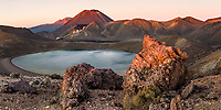 Pink dawn over Blue Lake with volcano Mount Ngaruhoe 2287m in background, Tongariro National Park, Central Plateau, North Island, UNESCO World Heritage Area, New Zealand, NZ