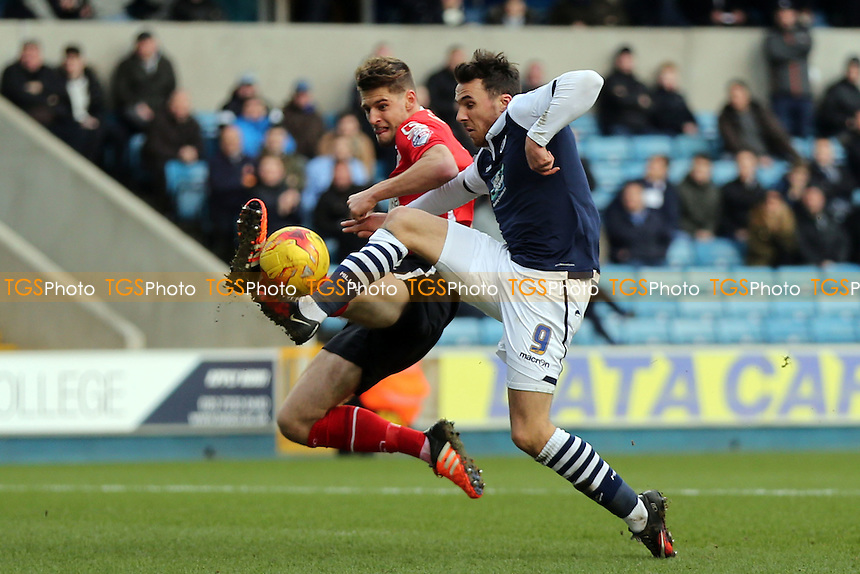 Jon Guthrie of Crewe Alexandra and Lee Gregory of Millwall during Millwall vs Crewe Alexandra, Sky Bet League 1 Football at The Den