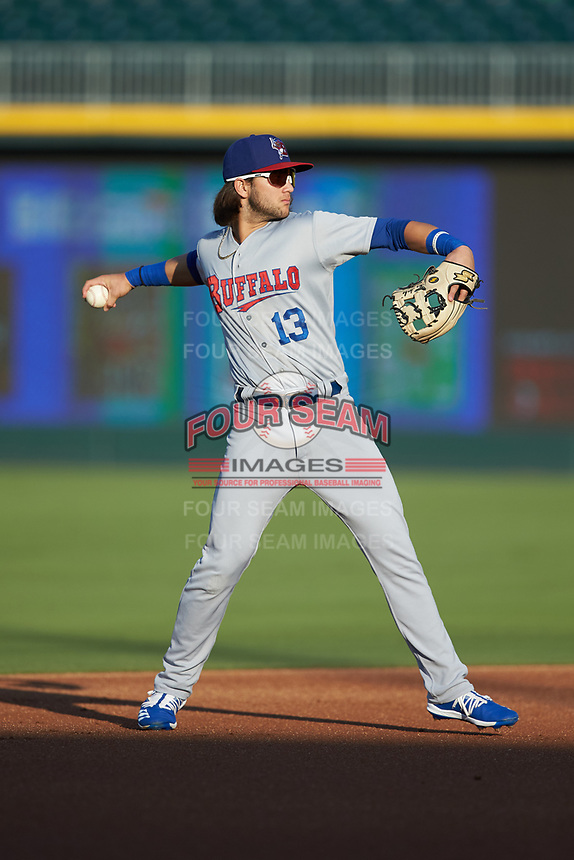 Buffalo Bisons shortstop Bo Bichette (13) warms up between innings of the game against the Charlotte Knights at BB&T BallPark on July 24, 2019 in Charlotte, North Carolina. The Bisons defeated the Knights 8-4. (Brian Westerholt/Four Seam Images)