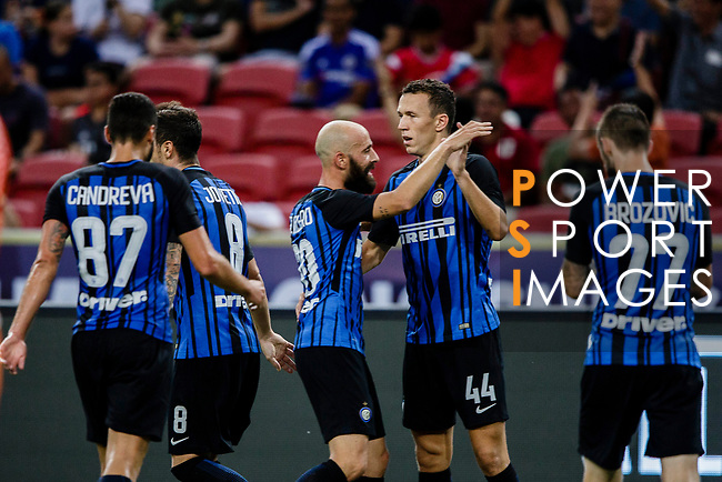 FC Internazionale Forward Ivan Perisic (C) celebrating his goal with his teammates during the International Champions Cup 2017 match between FC Internazionale and Chelsea FC on July 29, 2017 in Singapore. Photo by Marcio Rodrigo Machado / Power Sport Images