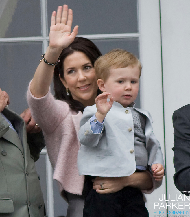 Crown Princess Mary and her son Prince Christian at Amalienborg palace in Copenhagen for Prince Frederiks 40th birthday celebrations.