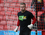 Simon Moore of Sheffield Utd warms up in KIO t-shirt during the English League One match at the Bramall Lane Stadium, Sheffield. Picture date: November 19th, 2016. Pic Simon Bellis/Sportimage