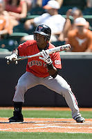 Second baseman Jamodrick McGruder #2 of the Texas Tech Red Raiders prepares to bunt against the Texas Longhorns on April 17, 2011 at UFCU Disch-Falk Field in Austin, Texas. (Photo by Andrew Woolley / Four Seam Images)