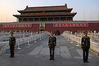 Paramilitary police on guard in front of Tiananmen Gate..21 Sep 2006