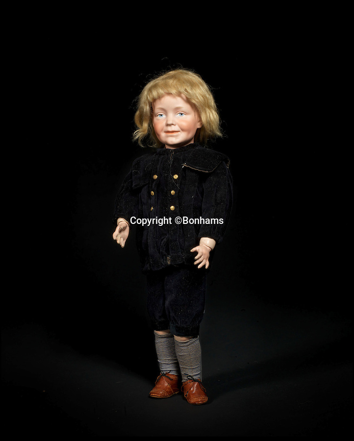 BNPS.co.uk (01202 558833)<br /> Pic: Bonhams/BNPS<br /> <br /> ***Please Use Full Byline***<br /> <br /> Extremely rare Kammer & Reinhardt 104 Bisque head charcter doll. <br /> £30,000 - 50,000. <br /> <br /> A creepy collection of almost 100 'lifelike' dolls modelled on children has emerged for sale with a whopping half a million pounds price tag. <br /> <br /> The eerie-looking toys were made in Germany in the early 20th century as dollmakers strived to produce dolls with realistic human features.<br /> <br /> The collection of 92 dolls, which includes some of the rarest ever made, has been pieced together by a European enthusiast over the past 30 years.<br /> <br /> It is expected to fetch upwards of £500,000 when it goes under the hammer at London auction house Bonhams tomorrow (Weds).