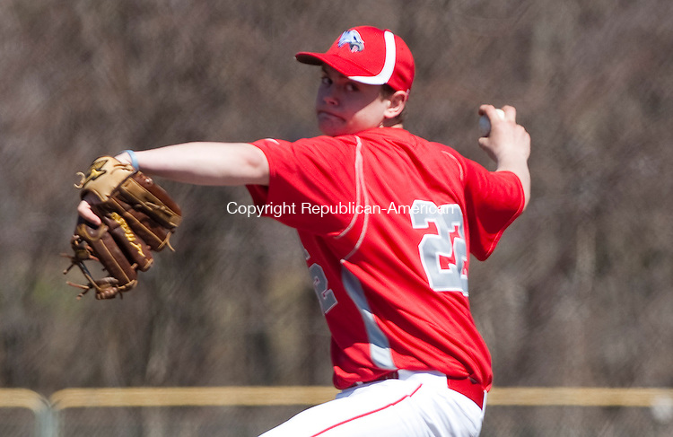 WOLCOTT, CT-041214JS02- Wolcott's Todd Manzollu (22) delivers a pitch during their game against Lewis Mills Saturday at Wolcott High School. <br /> Jim Shannon Republican-American