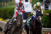 BALTIMORE, MD - MAY 20:   Javier Castellano smiles and pulls down a fresh pair of goggles after  Cloud Computing #2 defeats Classic Empire #5 and Julien Leparoux to win the Preakness Stakes at Pimlico Race Course on May 20, 2017 in Baltimore, Maryland. (Photo by Alex Evers/Eclipse Sportswire/Getty Images)