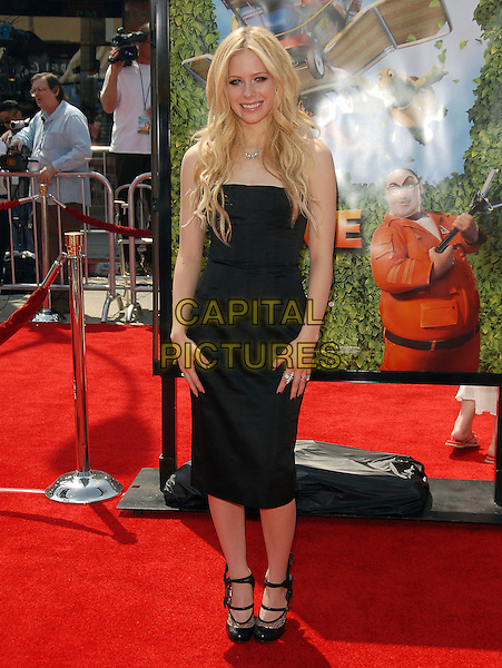 """AVRIL LAVIGNE.Red Carpet arrivals at The DreamWorks's Los Angeles Premiere of """"Over the Hedge"""" held at The Mann Village Theatre in Westwood, California, USA,.April 30th 2006..full length strapless dress silver diamond diamante necklace double strap shoes.Ref: DVS.www.capitalpictures.com.sales@capitalpictures.com.©Debbie VanStory/Capital Pictures"""